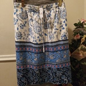 NWT Loft Blue/White & Pink Paisley Skirt